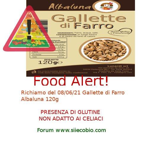 Richiamo prodotto alimentare – Gallette di Farro Albaluna presenza di allergene glutine