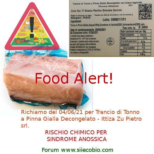 Richiamo prodotto alimentare – Food Alert  Trance Tonno pinne gialle – Ittica Zu Pietro